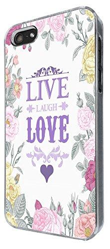 527 - Floral Shabby Chic Roses Live Love Laugh Design iphone 5 5S Coque Fashion Trend Case Coque Protection Cover plastique et métal