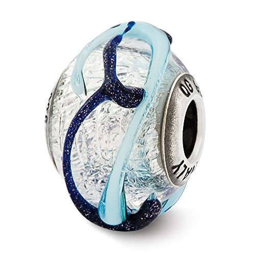 (925 Sterling Silver Charm For Bracelet Italian Blue Textured Lines Glass Bead Glas Murano Fine Jewelry Gifts For Women For Her)