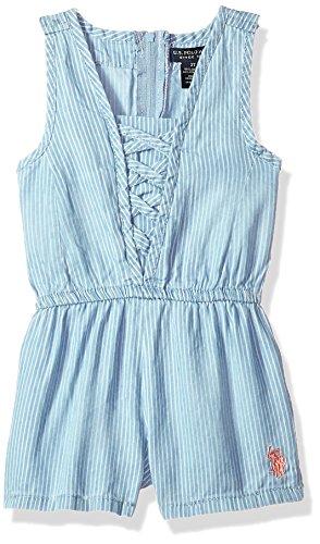 (U.S. Polo Assn. Girls' Little, lace up Insert Short Romper Multi 5)