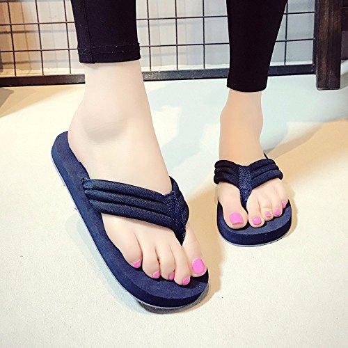 blue fashion clip herringbone beach simple and antiskid shoes style Summer XIAOGEGE wear new beach flat female wUZx1Aq