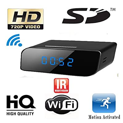Know Your NannyTM Mini Clock Spy Camera with Sd Card, Wi-fi Live View and Night Vision