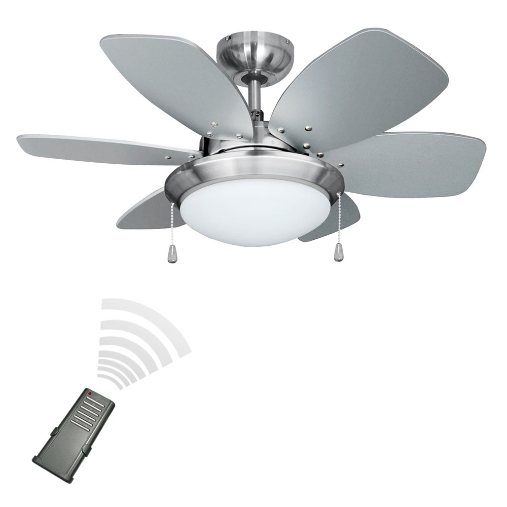minisun chrome  modern ceiling fan with light  reversible blades complete with remote control amazoncouk lighting. minisun chrome  modern ceiling fan with light  reversible
