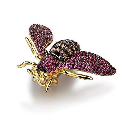 - King's Cross Beautiful Black, Fuchsia, Champagne Multi-Colored Cubic Zirconia (CZ) Bee Brooch Pin in 14K Gold Plated Brass.