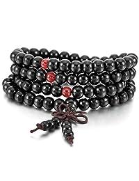 MOWOM Wood Bracelet Link Wrist Necklace Chain Tibetan Buddhist Sandalwood Bead Prayer Buddha Mala Chinese knot