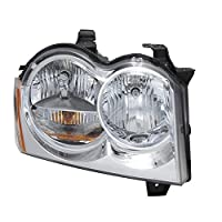 CarPartsDepot Headlight Assembly Replacement New Unit 2005-2007 Jeep Grand Cherokee Chrome RH