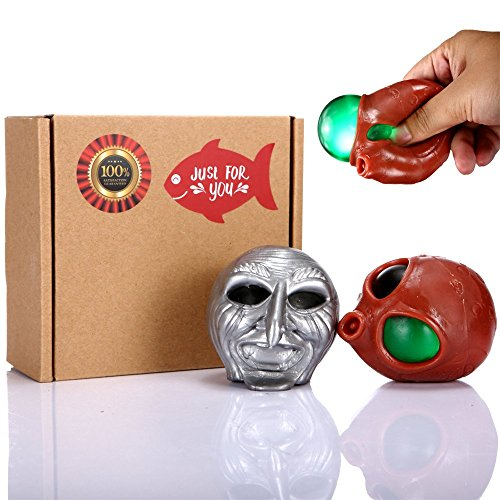 Alien and Ghost Stress Ball 2 Pack Bundle, Squeeze Toys for Kids and Adults, Fun Novelty Handheld Anxiety Relief Hand & Wrist Sensory Tool Best Gift to Relax, Vent Mood, Kill Time, and Keep Hands Busy by SMALL FISH