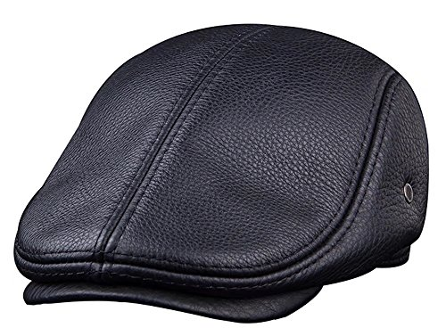 Unique Men Genuine Cowhide Leather Flat Cap Ivy Driving Newsboy Cap Simple Men Cabby Hat