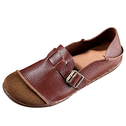 MatchLife Ladies Vintage Handwork Round Leather Shoes Style3-red Brown r51fTcvKE8