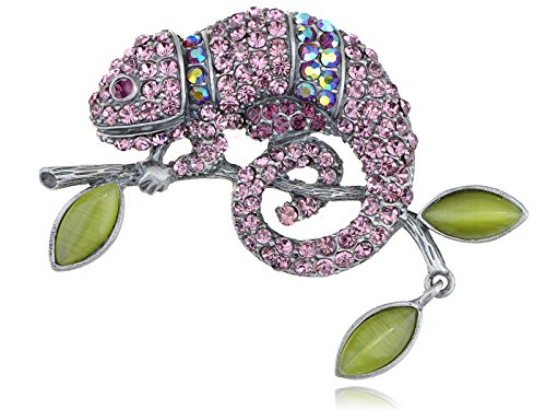 ALILANG Light Amethyst Rose Pink or Peridot Green Chameleon Lizard Convertible to Pendant Brooch Pin