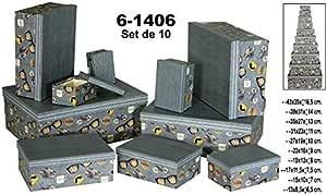 DONREGALOWEB Set de 10 Cajas rectangulares de cartón con Varias Medidas Decoradas: Amazon.es: Hogar