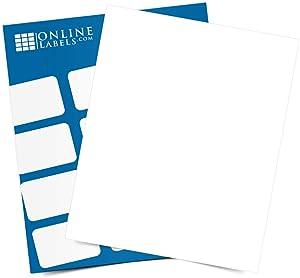 Sticker Paper, 100 Sheets, White Matte, 8.5 x 11 Full Sheet Label, Inkjet or Laser Printer, Online Labels