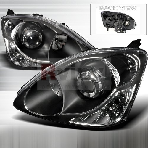 honda civic 2002 2003 2004 projector headlights black. Black Bedroom Furniture Sets. Home Design Ideas