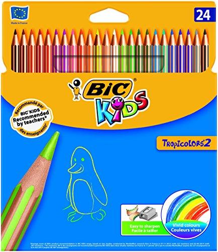 Bic Kids Tropicolors 2 Etui carton de 24 Crayons de couleur