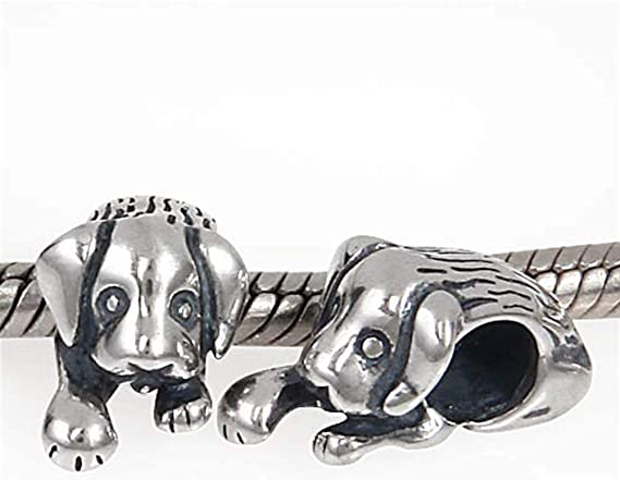 silver Puppy Charms Puppy Charm Sterling Silver 10mm Dog charms Puppy charms Sterling Silver Charms Animal Charms Pet Charms SP806