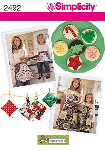 (Simplicity Crafts Sewing Pattern 2492 Christmas Apron, Kitchen Accessories & Felt Food)