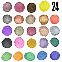24 Color Pigments Shimmer Mica Powder - DIY Soap Making, Cosmetic, Candle Making, Eye shadow, Craft Projects(5 grams Each, 120 Grams Total)