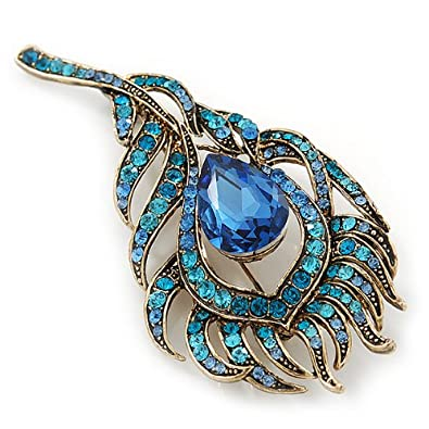 Vintage Blue/Teal Swarovski Crystal 'Peacock Feather' Brooch In Burn Gold - 8cm Length 45JCgLgk