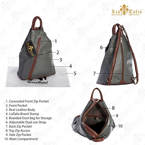 LIATALIA White Duffle Soft Convertible Bag ALEX Italian Black Leather Strap Unisex Trim Small Backpack Rucksack rzrqB7