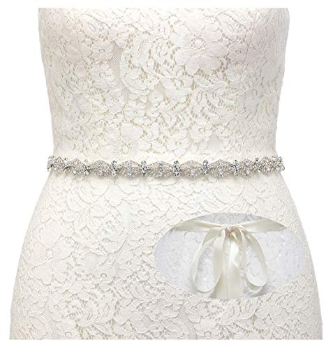 - SWEETV Crystal Bridal Belt Rhinestone Wedding Dress Belt Sash Headband for Bride Bridesmaid, Silver