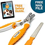 Professional Dog Nail Clippers – Ergonomic Handle, Angled Head and Quick Sensor Guard – Precision Trimming From Chihuahua To Great Dane – Plus Grooming EBook Guide and Nail File Review