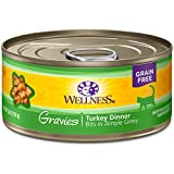 Wellness Complete Health Natural Grain Free Wet Canned Cat Food, Gravies Turkey Dinner, 5.5-Ounce Can (Pack Of 12) For Sale