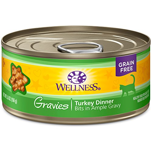Wellness Complete Health Natural Grain Free Wet Canned Cat Food, Gravies Turkey Dinner, 5.5-Ounce Can (Pack Of 12)