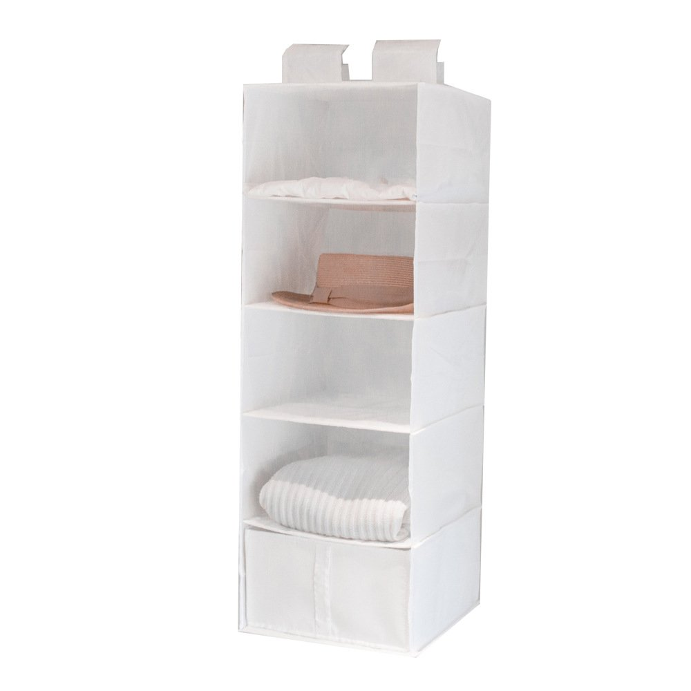 Kayphil 5 Shelves Foldable Wardrobe Hanging Closet Organizer for Clothes Storage and Accessories (white)
