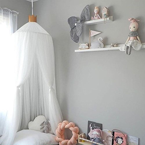 Aminiture Kids Baby Princess Mosquito Net Bed Canopy with Round Lace Dome Children Playing Reading canopy Tent Netting Curtains by Aminiture (Image #2)