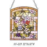 HF-229 Pastoral Vintage Tiffany Style Handmade Stained Glass Church Art Flowers Window Hanging Glass Panel Suncatcher, 22''x18''
