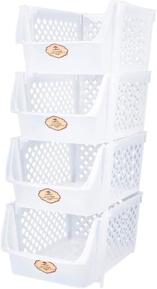Stackable Storage Organizer Bins for Food Snacks Fruit Bottles Toys Toiletries, Plastic Kitchen Storage Shelf Baskets - Set of 4 Clear White Bins, 15x10x7 Inch