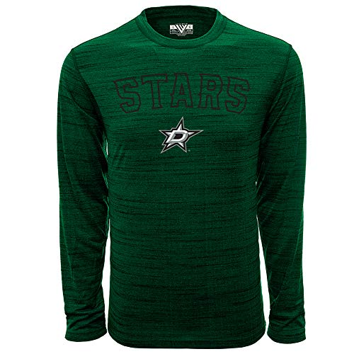 - NHL Dallas Stars Mens Anchor Arched Outline Mens Long Sleeve Tee, Heather Rider Green, Large