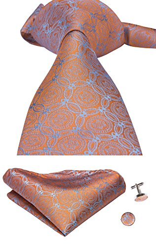 CAOFENVOO Men's Tie Set Woven Silk