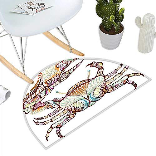 Modern Semicircle Doormat Crab Fish with Ethnic Ornate Lines Ocean Animal Cancer Illustration Artowrk Print Halfmoon doormats H 47.2