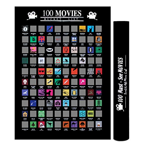 Pengxiaomei Movies Scratch Off Poster 100 Must-See Movies Top Films of All Time Bucket List (16.4 x 23 -