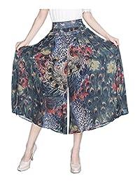 Herose Ladies Spring Autumn Printed Chiffon Lining Cropped Wide Leg Pants Culottes