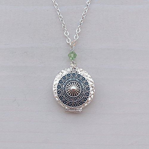 Ethnic Tribal pendant Diffuser Cover Silver-tone Charm with Green Bead Aromatherapy Necklace Essential Oil Diffuser Locket Pendant Jewelry w/reusable felt pads!