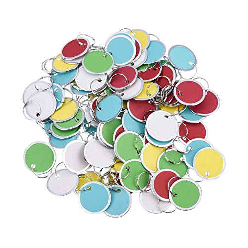 Fanrel 60 Pieces Metal Rimmed Key Tags Round Paper Tags with Split Rings (31mm, Multicolor)