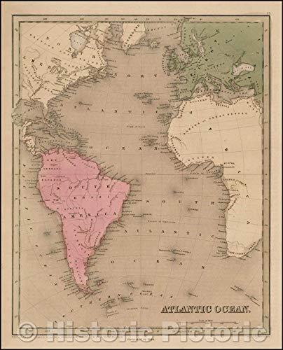 Historic Map | Atlantic Ocean, 1841, Thomas Gamaliel Bradford | Vintage Wall Art 36in x ()