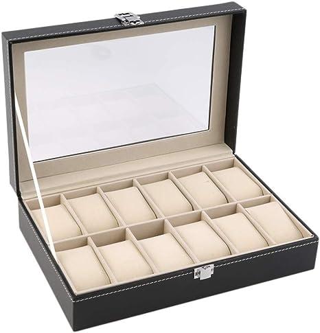 HKHJ Cajas para Relojes de Piel Estuche para Joyas con 12 Compartimientos Caja de Almacenamiento para Relojes o Joyería Organizadore Cajas de Regalo Joyería Accesorios: Amazon.es: Deportes y aire libre