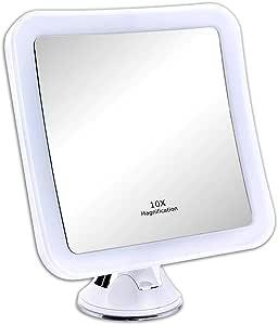 Schramm® LED spiegel 10-voudige vergroting met zuignap LED make-up spiegel wit make-up spiegel met LED make-up spiegel met verlichting staande spiegel cosmetische spiegel badkamerspiegel cosmetica spiegel