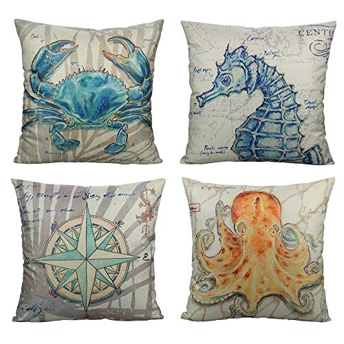All Smiles Nautical Coastal Outdoor Patio Throw Pillow Covers Cases Beach Décor Ocean Sea Theme Decorative Cushion 18X18 Set of 4 Marine for Couch Sofa Bed,Compass Octopus Crab Seahorse
