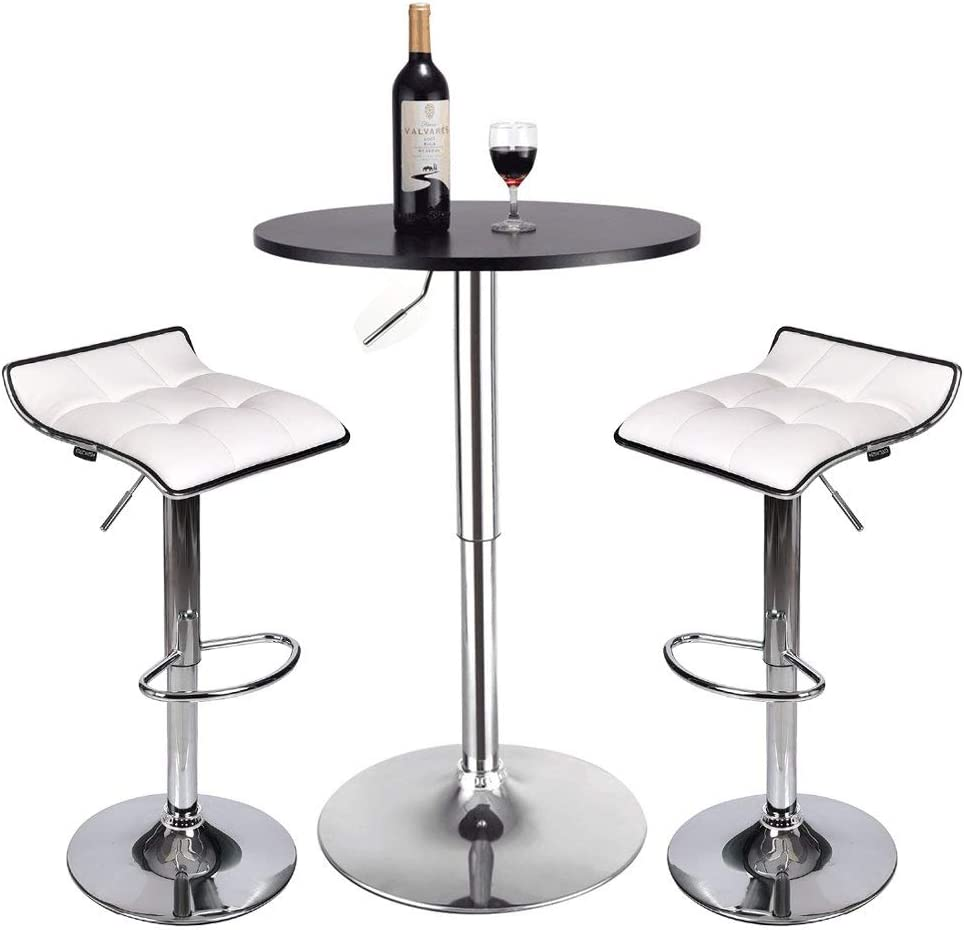 Bar Table Set of 3 - ARTETHYS Adjustable Round Table and Swivel Adjustable Barstools Set for Home Kitchen and Bistro (Black Table+White Stools)