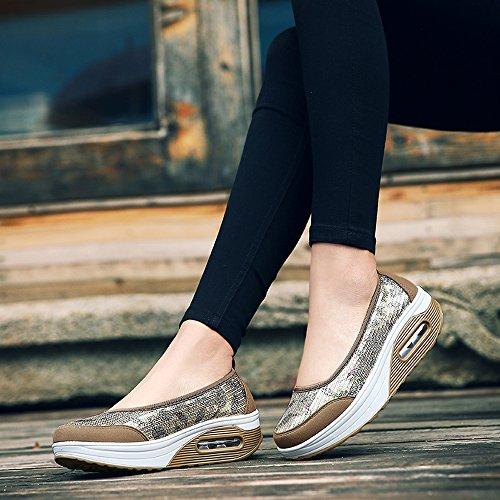 EnllerviiD Women Sequins Slip-On Platform Sneakers Shape UPS Fitness Toning Walking Shoes 1616 Gold WKuat8