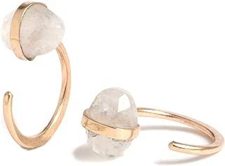 product image for Melissa Joy Manning 14k Gold Rainbow Moonstone Hug Earrings