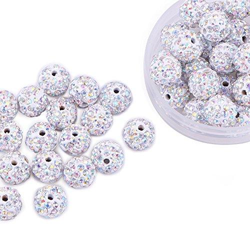 Pandahall 100 Pcs 10mm Crystal AB Shamballa Pave Disco Ball Clay Beads, Polymer Clay Rhinestone Beads Round Charms Jewelry Makings ()