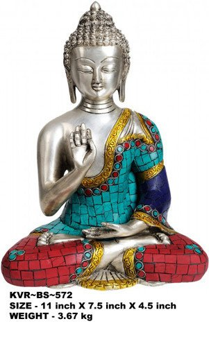 - 11 Inch Tall Brass Blessing Buddha with Turquoise and Coral Inlay KVR-BS-572