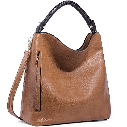 IYAFFA Women Handbags Designer PU Leather Shoulder Purse Ladies Hobo Top Handle Satchels Large Capacity (Camel Leather Handbags)