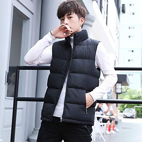 KEBINAI Vest Winter Stand Waistcoats Cotton-Padded,Black,XL