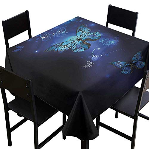 home1love Dark Blue Anti-Fading Tablecloths Monarch Butterflies Motif for Square and Round Tables 36 x 36 Inch