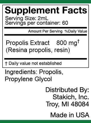 Stakich Bee PROPOLIS 4 oz Liquid Extract, Alcohol Free 30% - Top Quality -